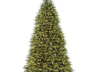 National Tree 10ft Pre lit Dunhill Fir Hinged Artificial Christmas Tree with 1200 Clear lights   Green