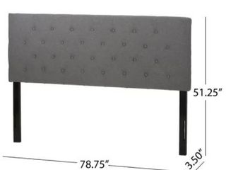 Attetbury Contemporary Upholstered King Grey Headboard