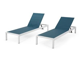 Cape Coral Outdoor Aluminum Chaise lounge  Set of 2  by Christopher Knight Home  Retail 396 49