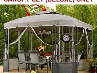 Sunjoy Replacement Canopy Set for l GZ120PST 2 Bay Window Gazebo   light Gray Retail 209 49