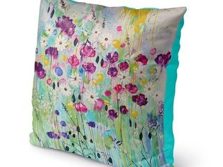 Kavka Designs purple  green  blue floral play outdoor pillow with insert