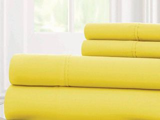 Pacific Coast Textiles Bright Solid Microfiber Polyester Sheet Set  Yellow  Full