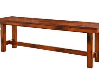 60  Distressed Rustic Dark Oak Wood Dining Bench