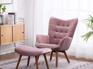 Carson Carrington Aasen Contemporary Side Chair and Ottoman Set