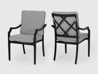 San Outdoor Aluminum Dining Chairs with Cushions   Set of 2