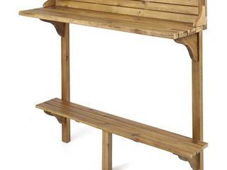 Caribbean Outdoor Acacia Wood Balcony Bar Table