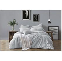 All Natural luxurious Prewashed Cotton Chambray Duvet Cover Set   Full Queen