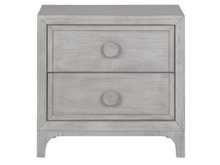 Boho Chic Nightstand in washed white 2 Drawer  DAMAGED see photos  split wood corner