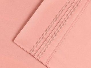 Superior Wrinkle Resistant Embroidered Microfiber Deep Pocket Bed Sheet Set   Queen