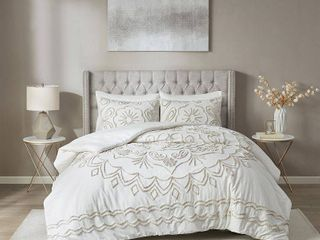 Madison Park Juliana Ivory Taupe Tufted Cotton Chenille Comforter Set   Queen