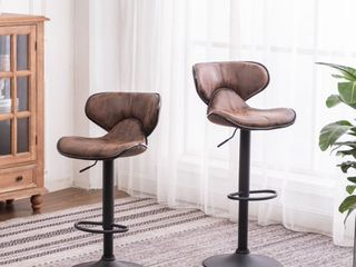 Masaccio Weathered Brown Upholstery Airlift Adjustable Swivel Barstool w  Chrome Base   Set of 2
