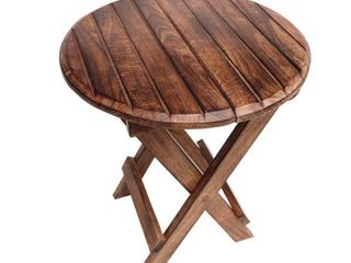 Round Plank Style Portable Mango Wooden Picnic Table with Criss Cross Base  Small  Brown  Retail 179 99