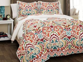 The Curated Nomad la Boheme Damask 3 piece Quilt Set  Full Queen   Retail 78 48