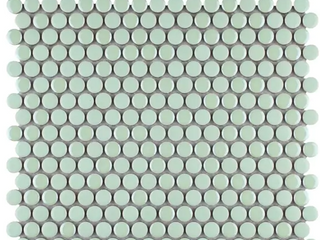 SomerTile 11 25x11 75 inch Andromeda Penny Round Mint Porcelain Mosaic Wall Tile  10 tiles 9 4 sqft