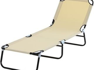 Outsunny 3 Position Adjustable Backrest Chaise Chair lounger with lightweight Frame Great for Pool or Sun Bathing Beige