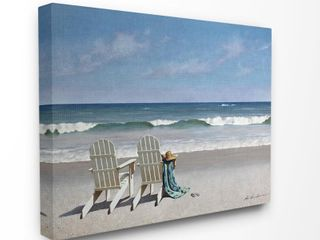 The Stupell Home Decor Two White Adirondack Chairs on the Beach Canvas Wall Art  16 x 20  Proudly Made in USA   Multi Color