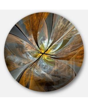 Designart  Symmetrical Yellow Fractal Flower  Oversized Wall Clock   Retail 175 00