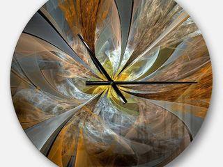 Yellow fractal wall clock