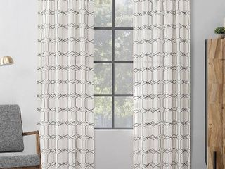 Scott living Certo Geometric Embroidery linen Blend Sheer Rod Pocket Curtain Panels