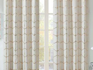 Intelligent Design Khloe Total Blackout Metallic Print Grommet Top Curtain Panels