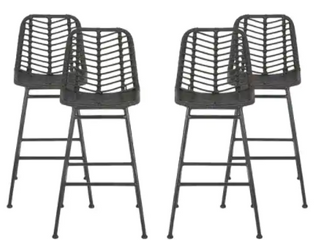 Sawtelle Outdoor Wicker Barstools  Set of 4  by Christopher Knight Home  Retail 459 99