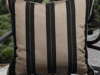 Clara 19 inch Indoor  Outdoor Brown  Black Stripe Cushion Made with Sunbrella  Retail 77 42