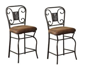 Acme Sergipe Counter Chair  Set of 2  Saddle