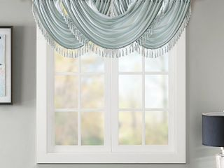 Madison Park Juline Faux Silk Solid Waterfall Tassel Trim Embellished lined Valance
