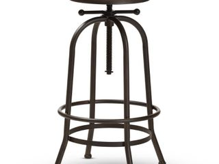 Industrial RustFinished Adjustable Swivel Bar Stool by Baxton Studio