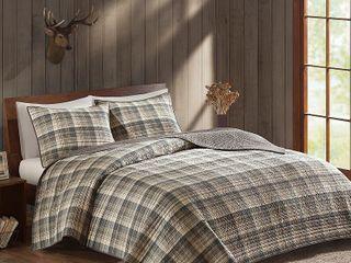 Woolrich Tasha Tan Cotton Percale Printed Quilt Set  Full Queen   Retail 75 98