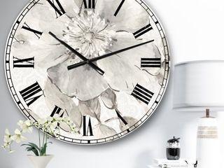 The Gray Barn Jartop  Indigold Grey Peonies II  Farmhouse Oversized Metal Clock  Retail 143 99