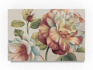 Designart  Romantic Dark Rose Blossing Flowers  Floral Premium Canvas Wall Art   Green