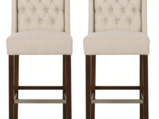 Bayliss Contemporary Wingback Fabric Barstools  Set of 2  by Christopher Knight Home  Retail 269 99