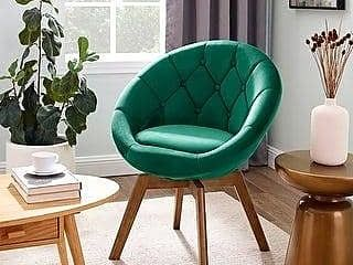 Carson Carrington Kallax Velvet or PU Tufted Round Swivel Accent Chair  Retail 197 99