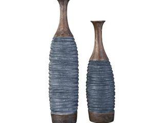 Blayze Antique Gray Brown Vase   Set of 2  Retail 119 99