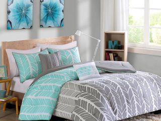 Intelligent Design Kennedy Aqua  Grey Comforter Set   Full Queen
