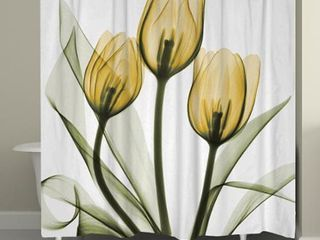 laural Home X Ray Gold Tulip Bouquet Shower Curtain  Retail 88 99