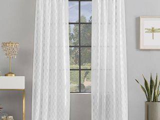 Scott living Verge Geometric Clipped Jacquard Semi Sheer Rod Pocket Curtain Panel