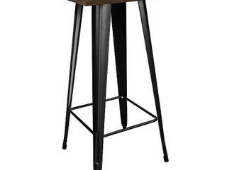 loft Black Metal Pub Table With Wood Top Cocktail Bar Diner Bistro Caf lounge