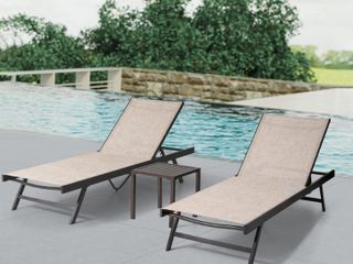 Crestlive Products Aluminum Adjustable Chaise lounge Chair  Set of 2    75 79 24 61 41 61 in  Retail 291 49