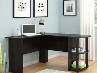FCH l Shaped Wood Right angle Computer Desk with Two layer Bookshelves Dark Brown  Retail 137 99