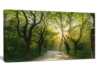 Designart  Evening in Green Forest  Extra large landscape Canvas Art Print
