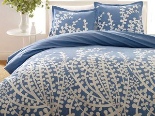 City Scene Branches French Blue Duvet Cover Set  Full Queen