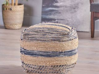 Caiman Handcrafted Boho Fabric Pouf by Christopher Knight Home