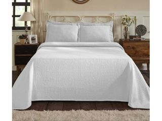 Superior All Season 100 Premium Cotton Oversized Medallion Pattern Bedspread QUEEN Size WHITE