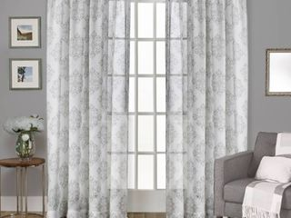 Set of 2 96 x54 Nagano Belgian linen Medallion Print Rod Pocket Sheer Window Curtain Panel light Gray   Exclusive Home