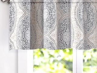 DriftAway Adrianne Damask Floral Pattern Window Curtain valance 52ax18a  Beige Gray
