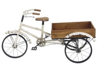 24  Rustic Iron Bicycle Inspired Flower Cart Brown   Olivia   May