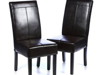 T stitch Brown leather Dining Chairs  Set of 2  by Christopher Knight Home