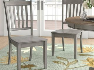 Slat back Dining Chairs  Set of 2    Grey